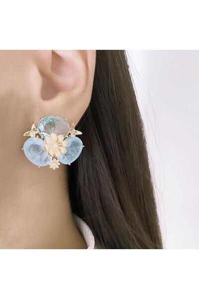 Brinco Dourado com Cristal Azul e Cristais Azul claro Fusion com Borboletas e Flor