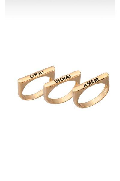 Anel Dourado Orai, Vigiai e Amém 3 aros