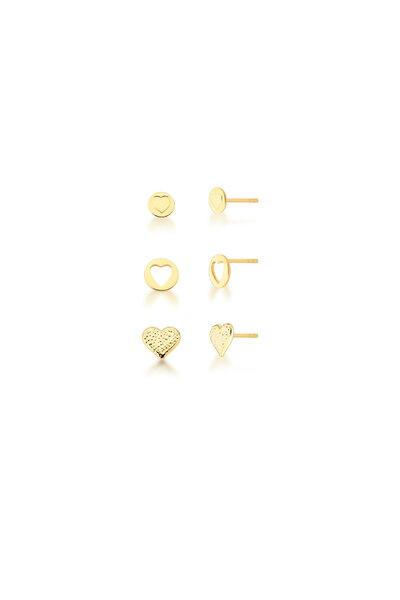 Trio de Brincos Dourados em formatos diversos de Coração
