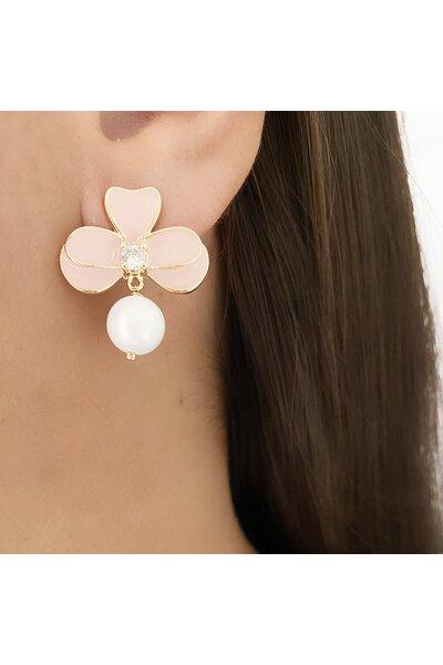 Brinco dourado meia orquídea esmaltada rosa com pérola