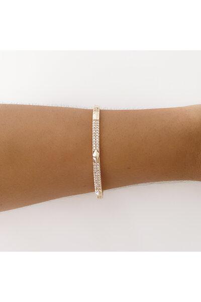 Bracelete dourado cravejado em zircônias