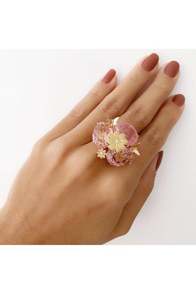 Anel Dourado com Cristal Rosa e Rosa Fusion com Borboletas e Flor
