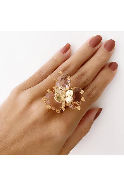Anel dourado 3 Cristais Rosa com Borboleta e florzinhas aplicadas