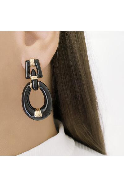 Brinco dourado pêndulo oval com esmaltado preto