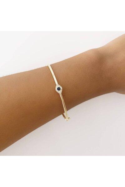 Pulseira dourada bracelete com Olhinho Grego cravejado
