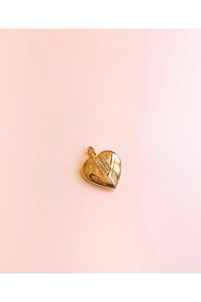 Pingente dourado coração com letras cravejadas