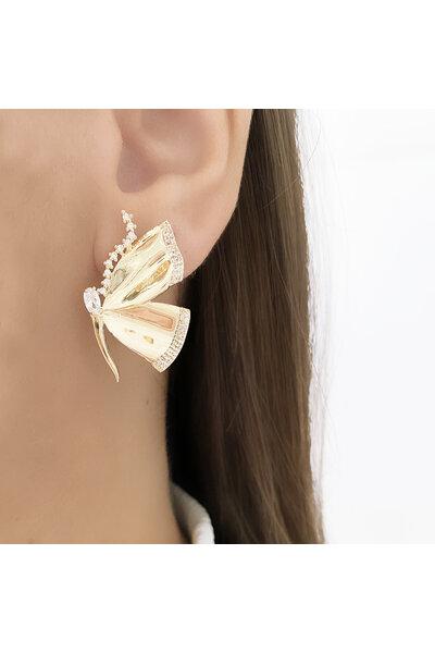 Brinco Dourado Butterfly com Zircônias