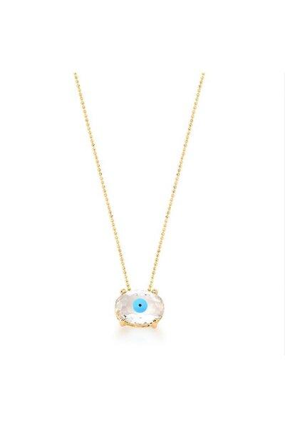 Colar dourado com olho grego cristal e esmaltado azul