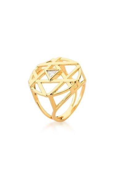 Anel dourado losango com cristal triangular ao meio