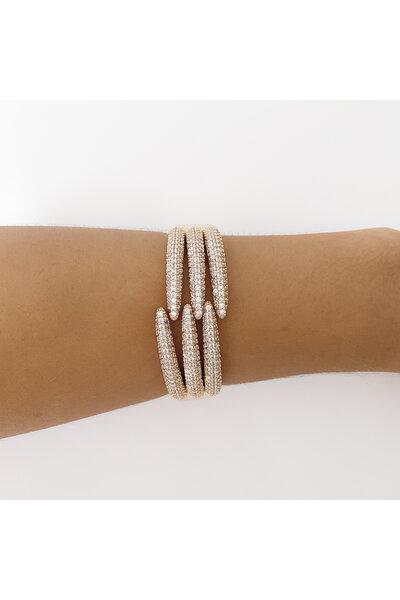 Bracelete dourado Garras Cravejadas em zircônias