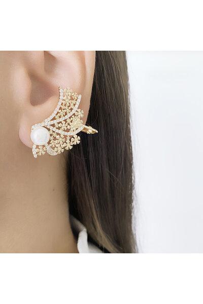 Brinco Dourado Ear Cuff flores com Pérola