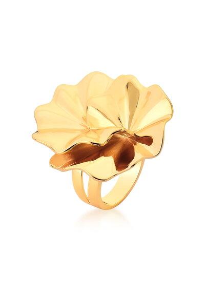 Anel Flor dourado em camada dupla