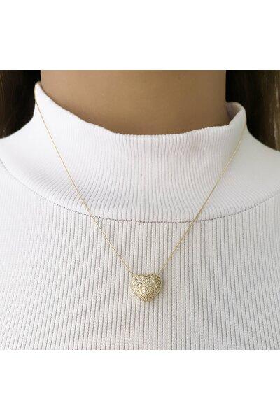 Gargantilha Dourada com Coração Cravejado em zircônias