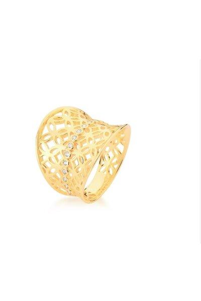 Anel dourado liso com arabescos vazados e fileira de zircônias