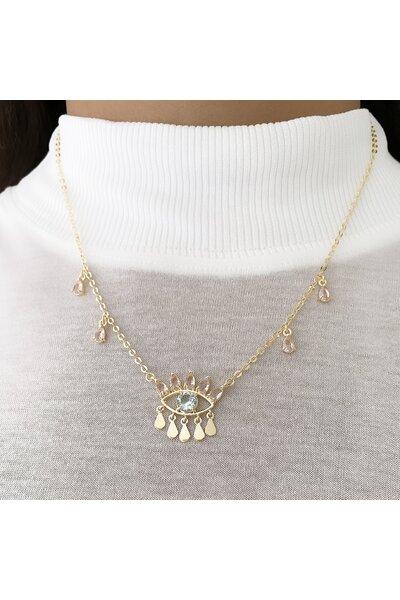 Gargantilha dourada com gotas cristal rosa e olho grego cristal rosa e medalhinhas lisas