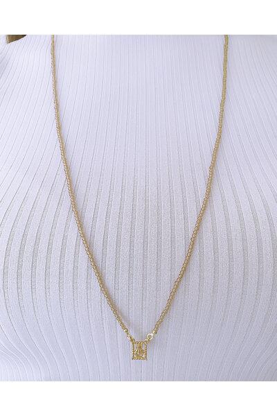 Escapulário com Cristal Espinélio marrom com Sagrado Coração dourado
