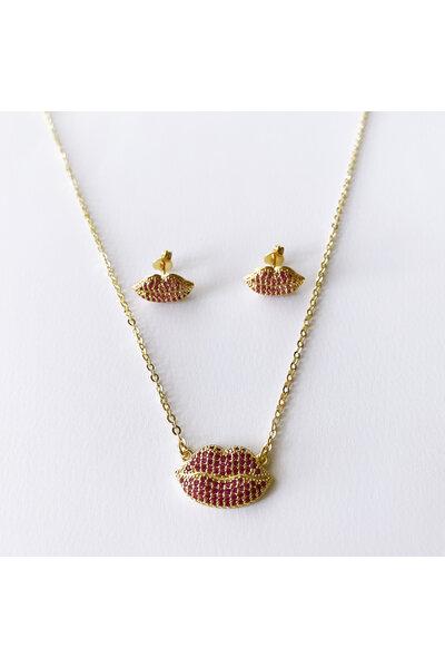 Conjunto Dourado Boquinha Cravejada em zircônias rubis