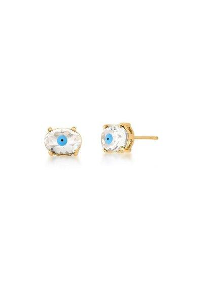 Brinco dourado oval cristal com olho grego esmaltado azul