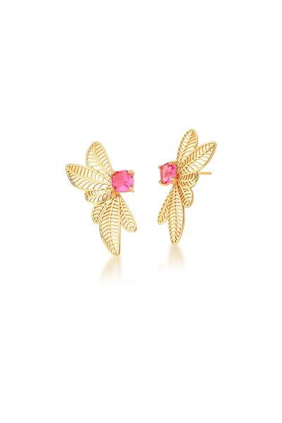 Brinco Dourado Folhagem com Cristal Rosa