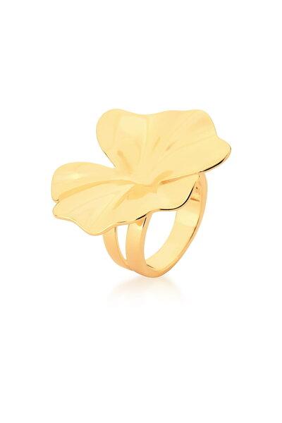 Anel dourado Flor Liso e Ondulado