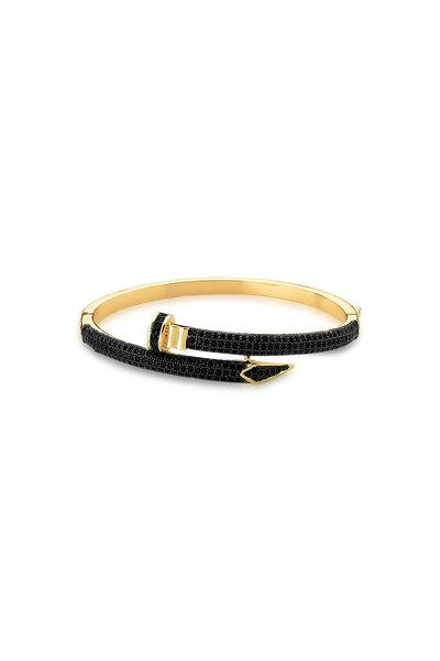 Bracelete dourado Prego cravejado em zircônias negras Inspired