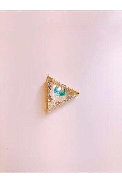 Pingente dourado triangular olho grego cristal e azul