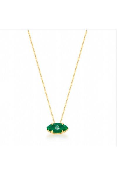 Gargantilha dourada com mini olho grego esmeralda