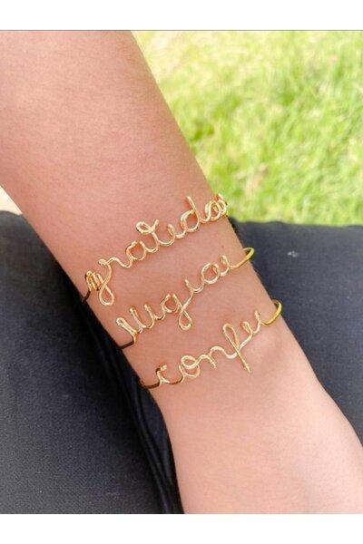 Bracelete dourado nome manuscrito
