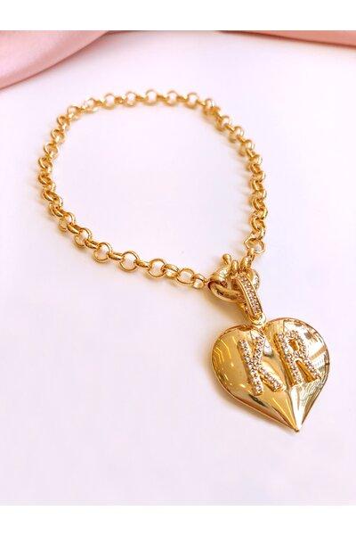 Pulseira elo português com pingente coração e letras cravejadas