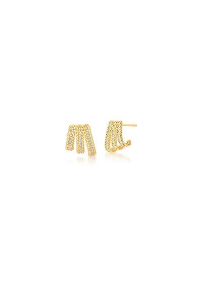 Brinco dourado Curvo com fileiras em zircônias