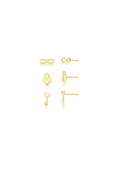 Trio de Brincos dourados Infinito, Cadeado e Chave