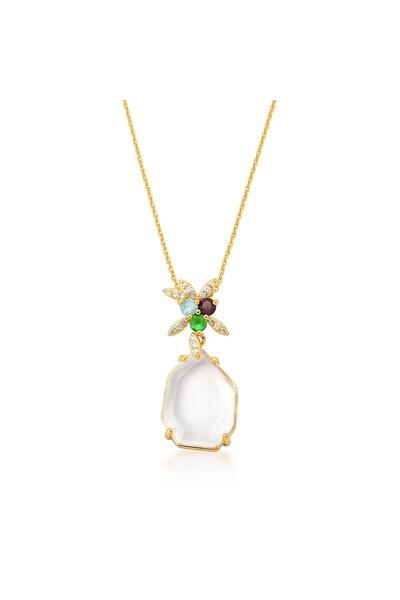 Gargantilha dourada com Pingente Cristal Transparente e cristais Coloridos