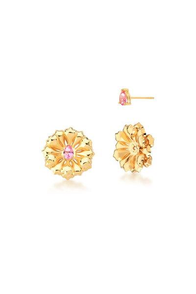 Brinco Dourado Flor com Cristal Gota Rosa