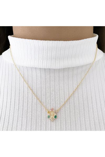 Gargantilha dourada nossa senhora com cristais coloridos em volta