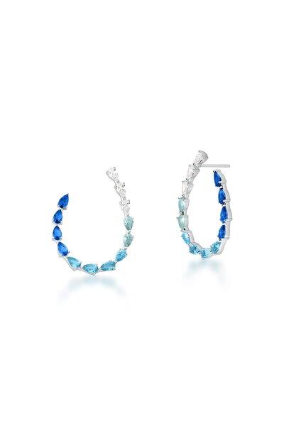Brinco Ródio Curvo com cristais Azul em degradê
