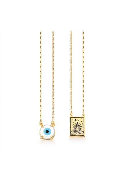 Escapulário dourado olho grego em madre pérola e iemanjá