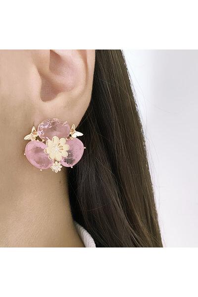Brinco Dourado com Cristal Rosa e Cristais Rosa Fusion com Borboletas e Flor