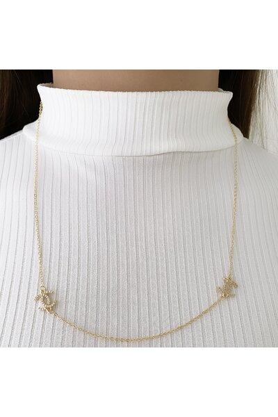 Colar Dourado Longuinho Chanel cravejado em zircônias
