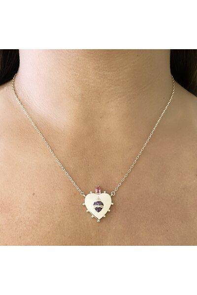 Gargantilha dourada sagrado coração de jesus com coração em zircônias rubis