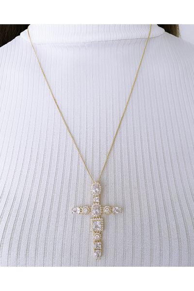Gargantilha longa Dourada Crucifixo em Cristais e zircônias