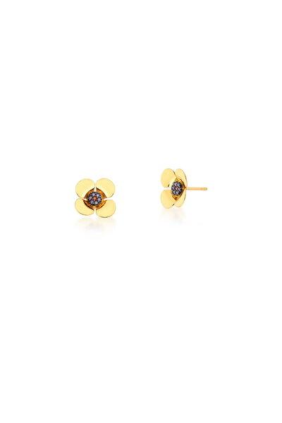 Brinco Flor dourada cravejado em zircônias rubis ao meio