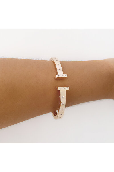 Bracelete dourado T Inspired com zircônias aplicadas