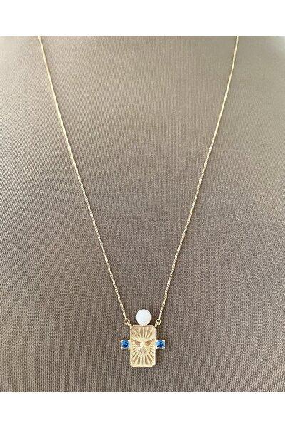 Escapulário dourado com divino espírito santo, pérola e cristal safira