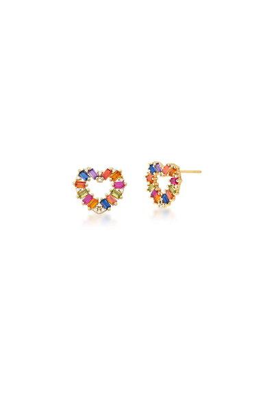 Brinco dourado Coração vazado em cristais coloridos