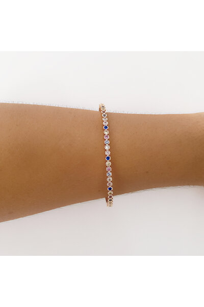 Bracelete dourado com Florezinhas em zircônias coloridas