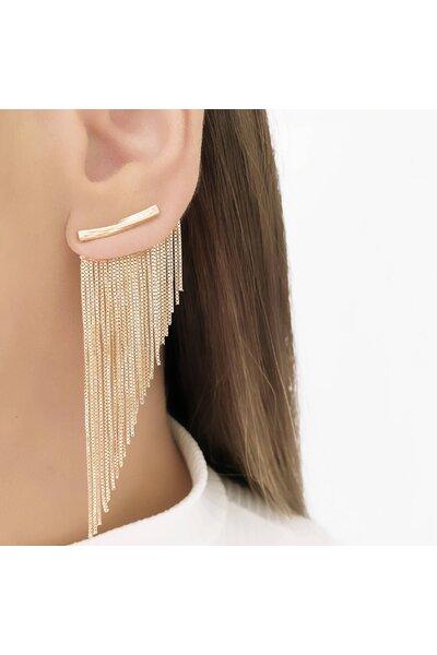 Brinco ear cuff dourado franjas 2 em 1