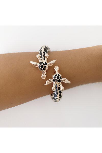 Bracelete dourado Giraffe com esmaltado preto