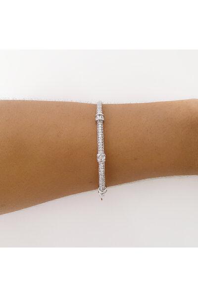 Bracelete ródio cravejado em zircônias e cristais baguete