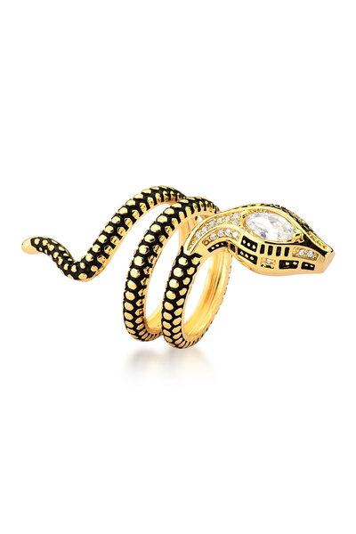 Anel Dourado regulável Cobra duas voltas