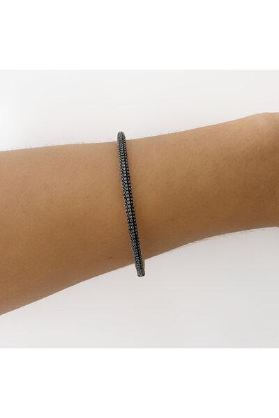 Pulseira dourada bracelete fino cravejado em zircônias negras